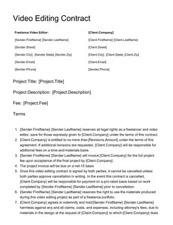 Freelance Video Editing Contract Template