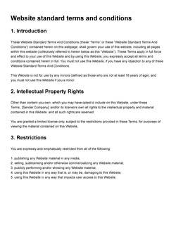 网站标准条款和条件模板