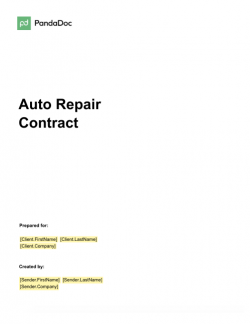 Auto Repair Contract Template