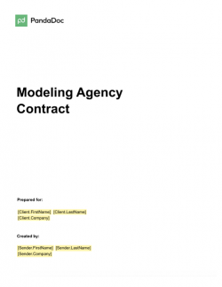 Modeling Agency Contract Template