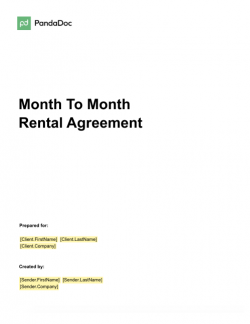 Month-To-Month Rental Agreement Template