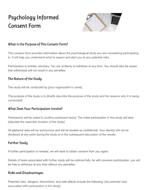 Psychology Consent Form