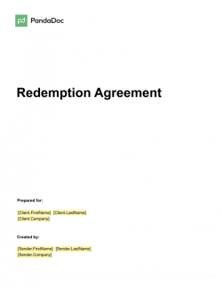 Redemption Agreement Template