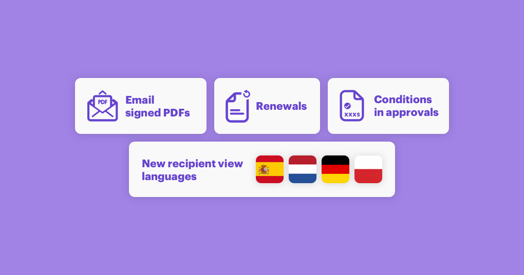 Renewals, conditional approvals, new recipient view languages, and PDFs in emails in March updates